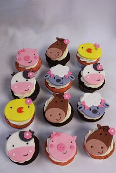 Farm Animal Faces Cupcakes | Flickr - Photo Sharing!