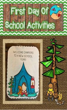 Cute camping themed first day activityGreat, simple project for the first day or first week of schoolBulletin Board IdeaWould be perfect for Meet the Teacher Night or Open Househis product can be used however you like, but here are some F First Day Of School Activities, First Day School, Beginning Of The School Year, New School Year, School Resources, Writing Activities, Classroom Activities, September Activities, Classroom Fun