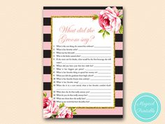 Pink and Gold What did the Groom Say What did by MagicalPrintable