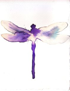 purple and white dragonfly. original watercolour painting