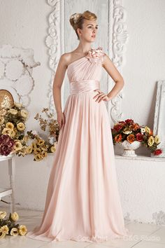 Pink Woven Floor-length Sleeveless Satin One Zipper Sweep A-line Ruched/Flowers/Belt Shoulder Chiffon/Elastic Natural Train Elegant/Luxury Evening Dress