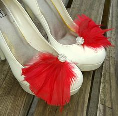 Bridal Shoe Clips,  Red Feather Shoe Clips, Feather Shoe Clips, Wedding Shoe Clips, Rhinestone Shoe Clips, Shoe Clips for Wedding Shoes by ShoeClipsOnly on Etsy