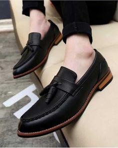 Leather shoes men - Black retro tassel leather slip on dress shoe – Leather shoes men Casual Leather Shoes, Leather Slip On Shoes, Men Shoes Casual, Casual Loafers, Shoes Men, Mens Dress Loafers, Loafers Men, Leather Loafers For Men, Loafer Shoes