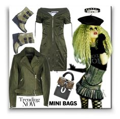 """""""Mini Bag 💚"""" by ragnh-mjos ❤ liked on Polyvore featuring Moschino, Y.A.S, SOREL and Hot Topic"""