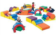 Children's Factory Pattern Gross Motor Play Group | Indoor Soft Climbers | Soft Playgrounds