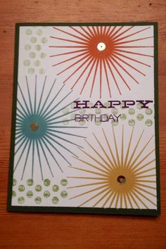 features Stampin Up's Kinda Eclectic stamp set;  Birthday Cards - Wish Big   Midnight Crafting