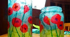 How to make a stained glass poppy votive Here's a fun little project that would make a lovely teacher or hostess gift for the holidays. Crafts To Make, Crafts For Kids, Diy Crafts, Nursing Home Crafts, Remembrance Day Art, Poppy Craft, Anzac Day, Art Lesson Plans, Recycled Crafts