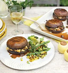 For a vegetarian barbecue with a difference, try these portobello mushrooms stuffed with halloumi, spring onions, lemon zest and smoked paprika.