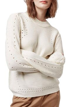 Topshop Pointelle Ribbed Crewneck Sweater available at #Nordstrom