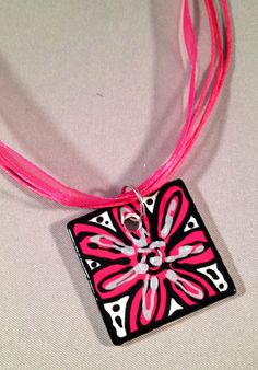 Hand Painted Pendant with Organza Ribbon Cord - Bright Pink Flower with Silver Accents on Etsy, $12.95