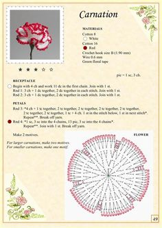 Crochet carnation chart pattern