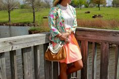 floral blazer and neon skirt