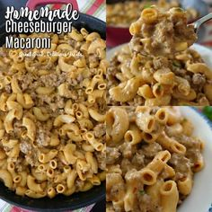 Homemade Cheeseburger Macaroni is so easy and quick, a 30 minute meal that the whole family is going. Macaroni Recipes, Yummy Pasta Recipes, Beef Recipes For Dinner, Easy Casserole Recipes, Beef Casserole, Ground Beef Recipes, Quick Recipes, Mince Recipes, Cooking Recipes