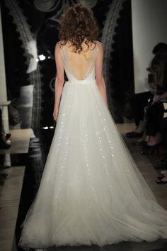 Reem Acra - Bridal Spring 2014  TAGS:Embellished, Floor-length, Train, White, Reem Acra, Jewelled, Tulle, Princess