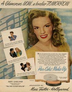 Vintage ad: Max Factor Pan-Cake Makeup, featuring Judy Garland, 1946