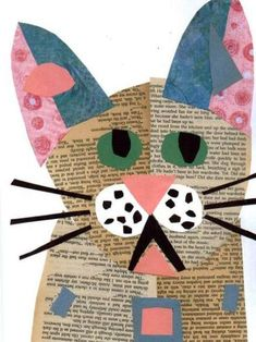 Items similar to cat art cat collage painting art mixed media kitten on etsy Journal D'art, Classe D'art, Newspaper Crafts, Newspaper Collage, Recycled Art, Art Classroom, Art Plastique, Art Activities, Teaching Art