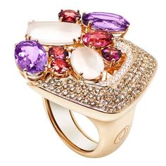 Saba Collection pink gold ring with white and brown diamonds pink quartz…