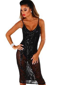 Black Sheer Sequined Midi Bodysuit Party Dress Bodysuit Dress 42b28e13d
