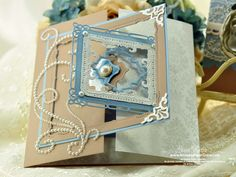 Interlocking Gatefold Card made using JustRite Anchors Away and Spellbinders Marvelous Squares
