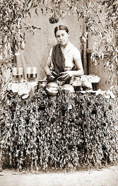 "Mexican woman selling drinks by ookami_dou, via Flickr; from an 1860's album of Mexican occupations made by the studio ""Cruces y Campa"" in the 1860s."