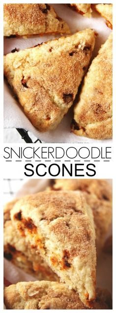 Snickerdoodle Scones - perfectly tender and sweet scones with cinnamon chips and cinnamon sugar topping.  #recipe #scones crunchycreamysweet.com