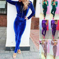 edb62533b1b75 2Pcs Women Tracksuit Jacket Pants Sets Wear Velvet Zipper Suit Gym Outfits  S-Xl Velvet