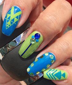 Day Blue and Green Nail Art Green Nail Art, Green Nails, Geometric Nail Art, Fun Nails, All The Colors, Nail Art Designs, Utah, Blue Green, Turquoise