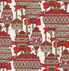 Red and Gold Vintage Wrapping Paper Christmas Ornament Art by TheBabyDynosaur