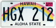 The official Hawaii state license plate.