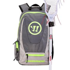 #LacrosseUnlimited #Warrior Jet Pack Tripper Backpack Gray/Neon Yellow