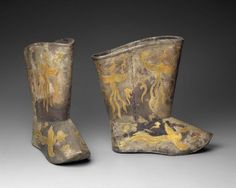 Liao dynasty boots, leather, gilt silver, with phoenixes