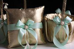 Gold Mint Bearer Pillow & Mint Wedding Basket  Gold Wedding Pillow + Mint Flower Girl Basket  Gatsby Style  Gold mint Wedding Ring Holder - Venue and reception decor (*Amazon Partner-Link)