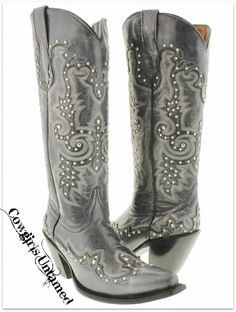 COWGIRL STYLE BOOTS Studded with Embroidery on Black GENUINE LEATHER Snip Toe Tall Western Boots