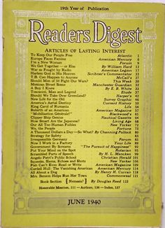 """JUNE 1940 """"Reader's Digest"""" - FATHER DIVINE - TOSCANINI - CORDELL HULL - RUMANIA"""