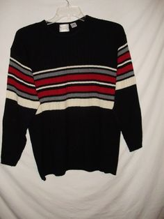 e8a8f106e9c1ec Extra Editions Womens Sweater Plus Size 3X Striped Black Red Gray White A74   ExtraEditions