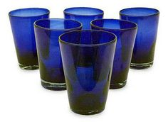 Handblown Recycled Glass Tumbler Drinkware (Set of Blue - Cobalt Angles