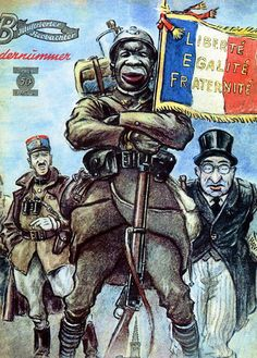 Seeing that black soldiers made up a good number for the Allies, the Axis would create propaganda posters depicting black soldiers being sent up to the front while the white man slyly hides from behind. This was to make the African-American soldiers turn against the white American soldiers.