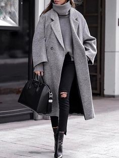 Long Coat Outfit, Winter Coat Outfits, Trench Coat Outfit, Grey Outfit, Winter Fashion Outfits, Women's Trench Coats, Japan Outfit Winter, Japan Winter Fashion, Fashion Coat