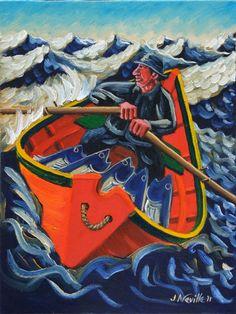 John Neville #art #novascotiaart #marineart #bayoffundy #hallsharbour #canada #fisherman #doryboat #rowboat #fishing #johnneville