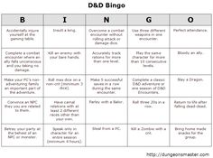 D&D Bingo | -Glory awards: objectives that the characters can do throughout the course of the adventure that will earn them point.