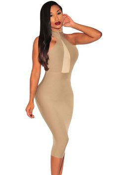 Taupe Mock Neck Sheer Peep Hole Dress