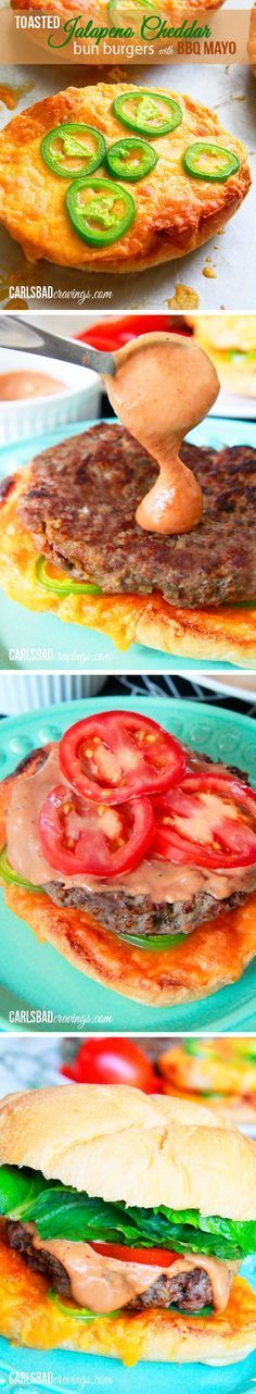 SO GOOD! and done in 15 MINUTES FLAT! Cumin, smoked paprika spiced burger on toasted Jalapeno Cheese Bread with BBQ mayo! Moist, flavorful and delicious! A great busy weeknight meal - or any time meal! | Carlsbad Cravings