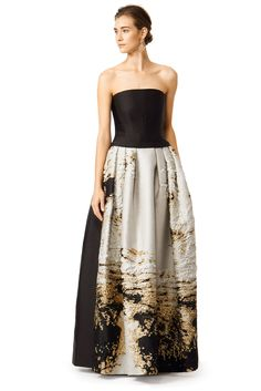 Alberta Ferretti Brushed With Gold Gown