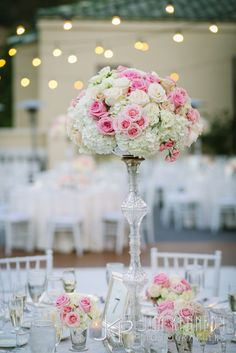 White and pink centerpieces at this Marbella Country Club wedding | Engaged Events | Events by Candice | Jim Kennedy Photographers