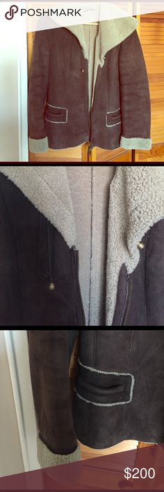 Shearling short jacket in brown size small Italian shearling with cute details - size small (2) 🌏zipper front and collar can be wrapped as a scarf ...no lining and super warm ... I have it for 5 years now and no damage no stains...I lost ribbon from the zip but can be replaced - please see last picture Jackets & Coats Pea Coats