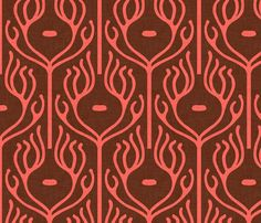 Spoonflower Fabric: umbraline peacock  I love this pattern and color scheme -- it looks like art nouveau coral