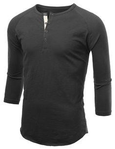 Mens Button Henley Neck Raglan T-Shirt