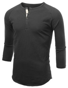 Mens Button Henley Neck Raglan T-Shirt
