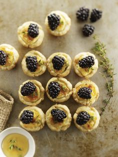 Mini Goat Cheese Tarts with Blackberries by thewickednoodle #Appetizer #Tart #Goat_Cheese #Blackberry