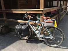 My Surly LHT hitched to a post at Log Cabin Inn in Vernon, Indiana.